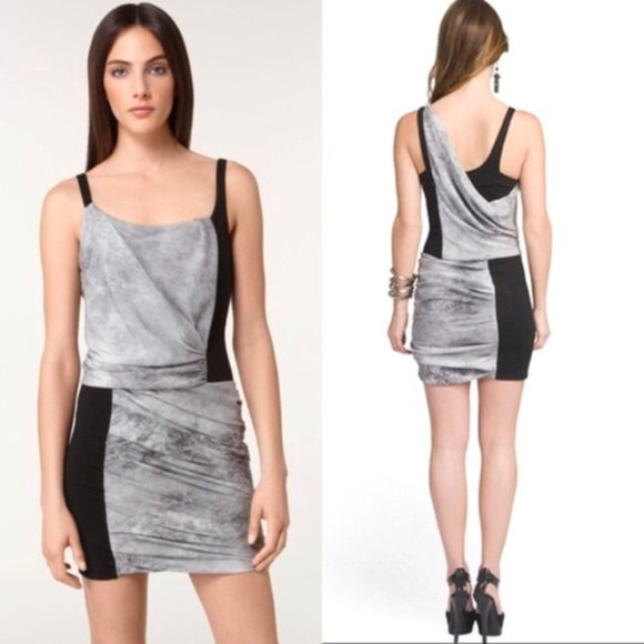 Helmut Lang Dresses & Skirts - NWOT Helmut Lang Gray and Black Drape Mini Dress